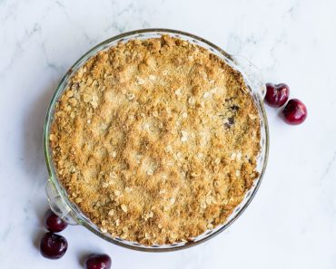 Sweet Cherry Crisp Recipe With Almond Whip Cream
