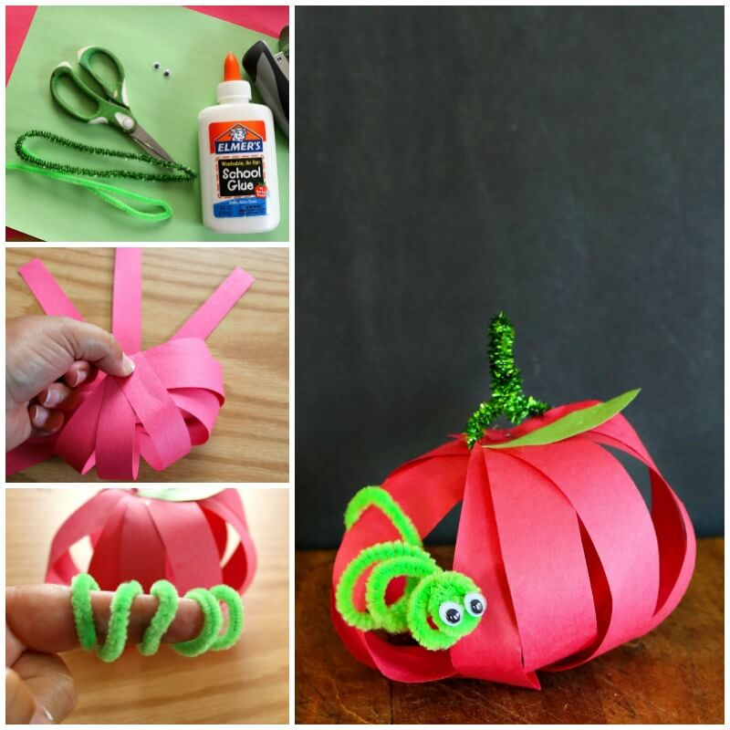 If you are looking for easy fall kids paper apple crafts look no further than this amazing apple paper craft.