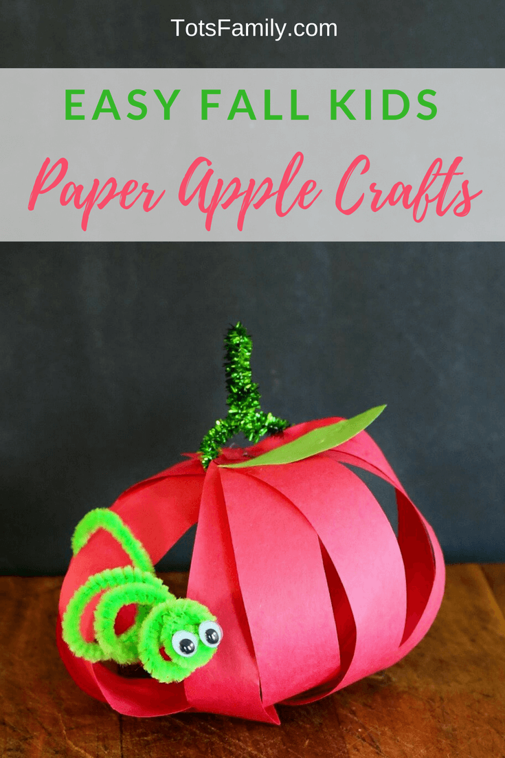 Easy fall kids paper apple crafts for Simple fall crafts for kids