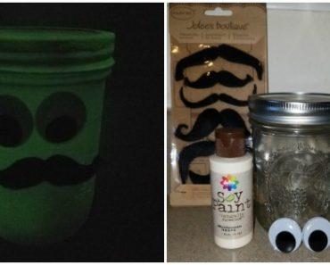 Glow In The Dark Craft - Halloween Mustache Mason Jar