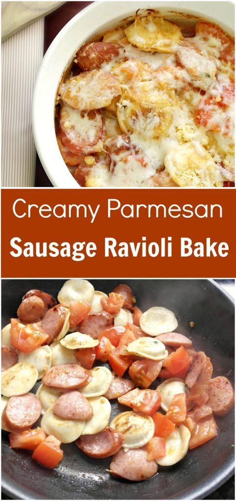 ThisCreamy Parmesan Sausage Ravioli Bake recipe makes getting creative LOOK easy.