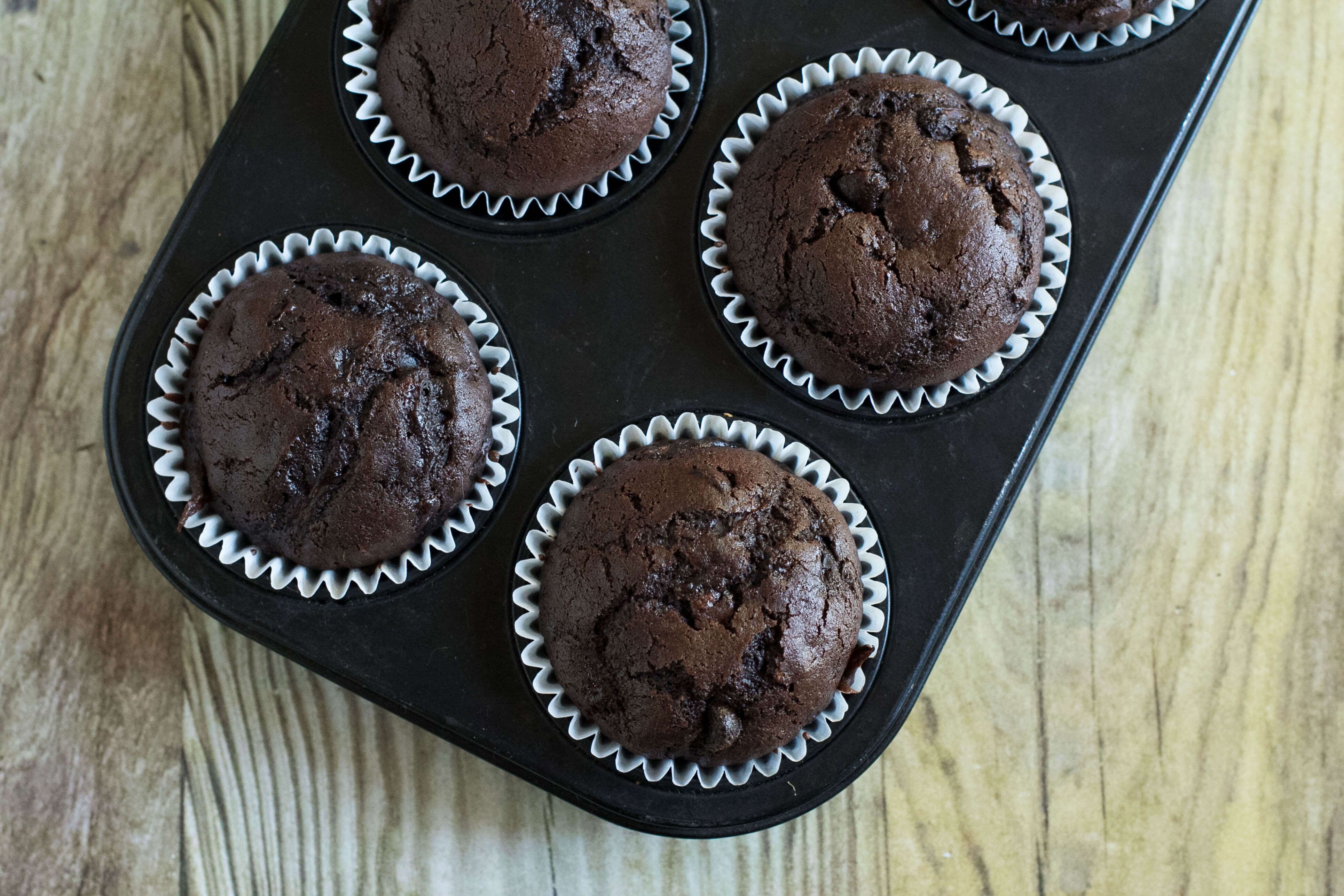 A chocolate chip zucchini muffin is rich, flavorful and oh so delicious.