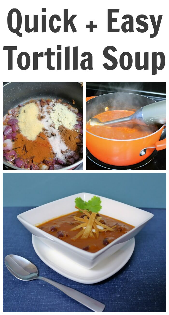 TOTS Family, Parenting, Kids, Food, Crafts, DIY and Travel Quick-Easy-Tortilla-Soup-Recipe Quick and Easy Tortilla Soup Recipe Breads/Soups/Salads Food TOTS Family  vegetarian soup vegan soup tortilla soup soup lunch easy soup easy recipe dinner 30 minute soup