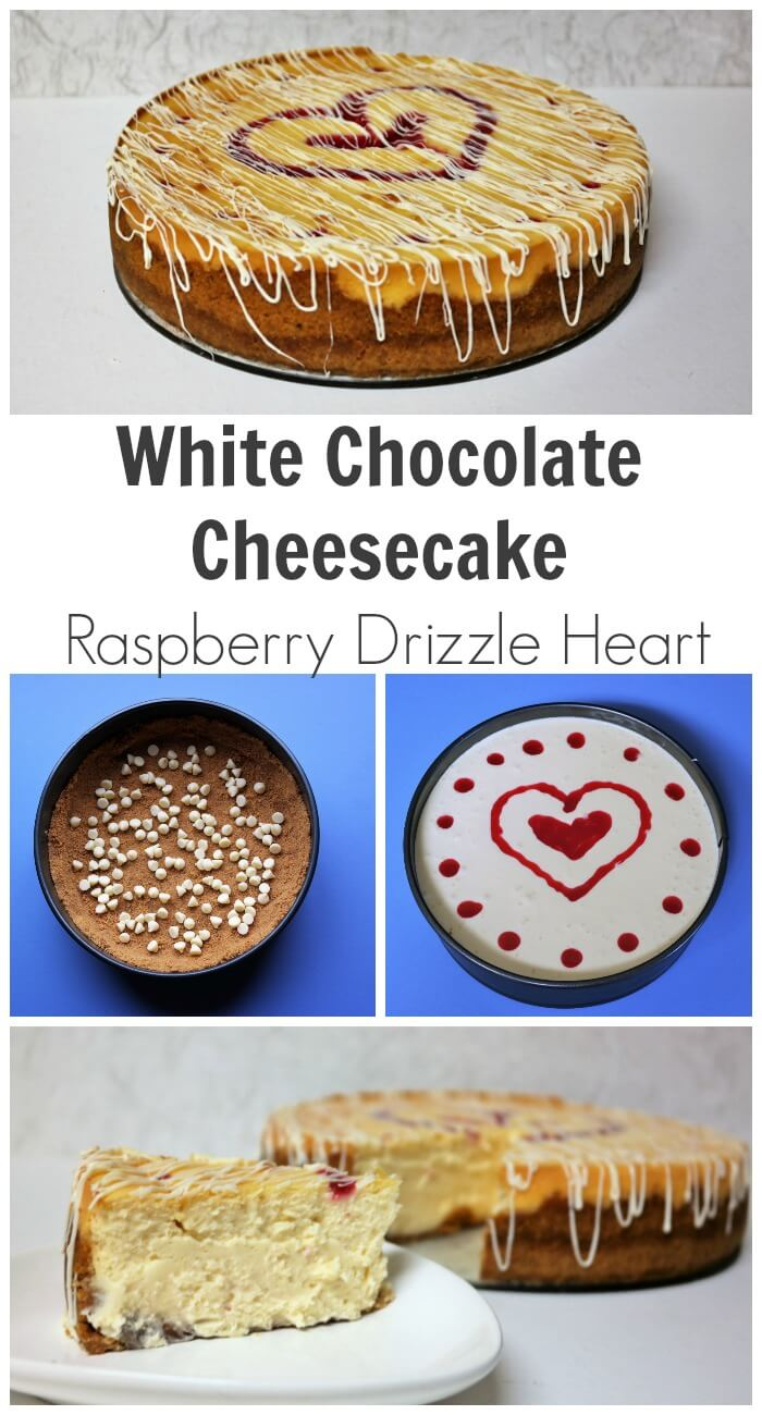 TOTS Family, Parenting, Kids, Food, Crafts, DIY and Travel Baked-White-Chocolate-Cheesecake-Recipe-with-a-Raspberry-Drizzle-Heart Baked White Chocolate Cheesecake Recipe with a Raspberry Drizzle Heart Desserts Food TOTS Family  white chocolate cheesecake raspberry sauce light fluffy easy cheesecake dessert cheesecake