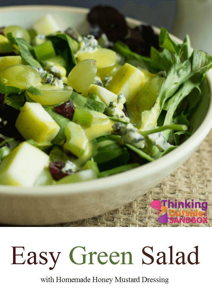 Green Salad Recipe with Homemade Honey Mustard Dressing