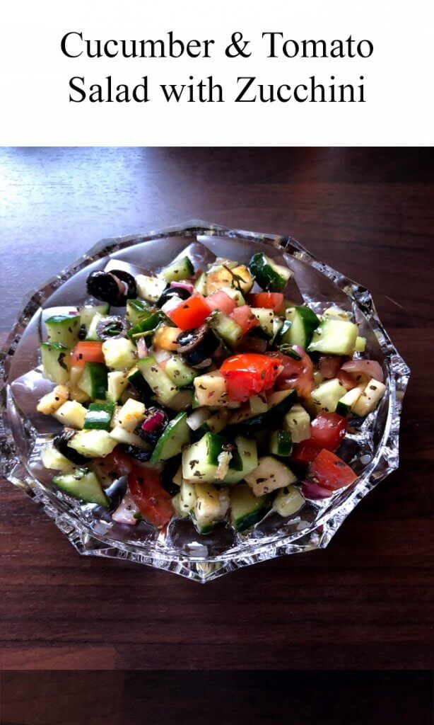TOTS Family, Parenting, Kids, Food, Crafts, DIY and Travel CucumberAndTomatoSaladWithZucchini-614x1024 Cucumber & Tomato Salad with Zucchini Breads/Soups/Salads Food Miscellaneous Recipes  salad Gourmet Salads