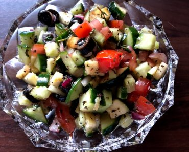Three of my favorite vegetables are cucumbers, tomatoes, and zucchini and makes an awesome Cucumber & Tomato Salad with Zucchini Recipe.