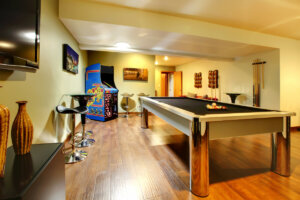 Here is what a basement looks like when you Transform Your Basement into a Games Room for the Kids