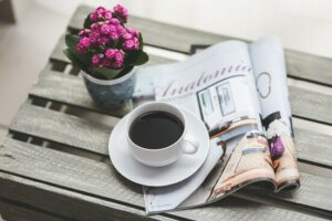 image of coffee and newspaper - Baby Thank You Cards