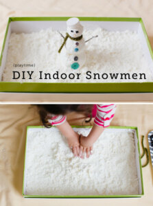 Making indoor DIY snowmen is one of 4 Fun Ideas to Keep Kids Busy Over the Holidays