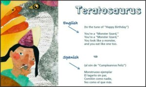 Teratosaurus image of page from book by Dr. Steven Clark Cunningham Dinosaur Name Poems